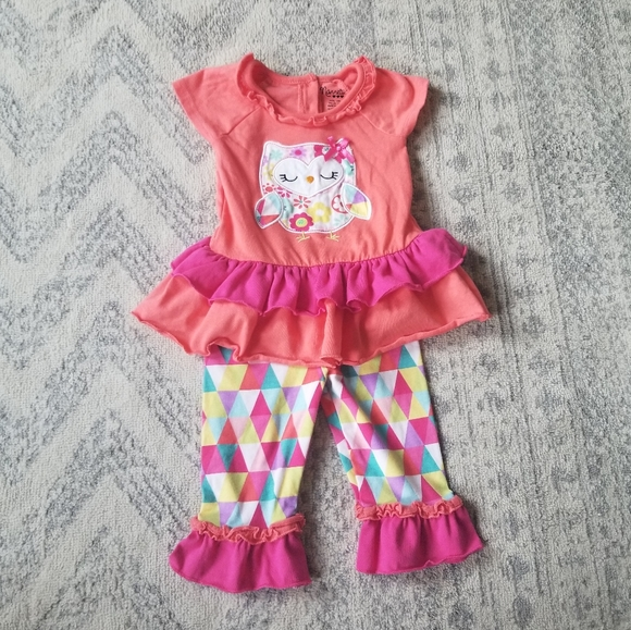 Nanette baby girl 18 month owl outfit set